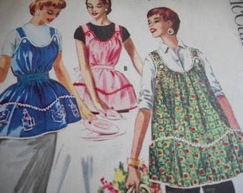 Vintage 1950's McCall's 2038 Apron Sewing Pattern and Transfer Size Medium 14-16, Bust 32-34