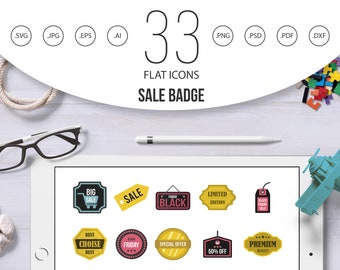 Sale badge icon set.