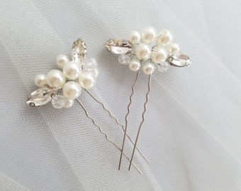 Ivory Pearl Hair Pin, Crystal Hair piece, Silver pearl Hairpin, Bridal Hair Comb Accessory, Ivory Pearl Wedding Hair comb {Eris Hairpin}