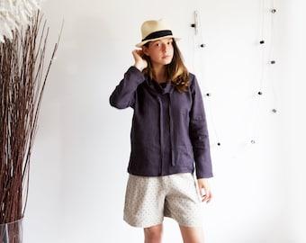 Linen shirt long sleeves, Washed linen top, Linen shirt, Loose fitted tunic, High collar blouse, Linen women blouse, Cowl neck top