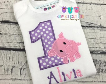 Baby Girl pink and purple birthday Pig Outfit - 1st Birthday Piggy Birthday Shirt - Pig Birthday Outfit - 1st birthday girl outfit purple