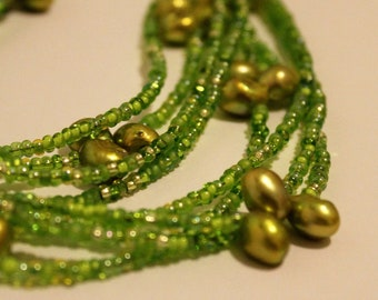 Multi layer glass bead and fresh water pearl green necklace