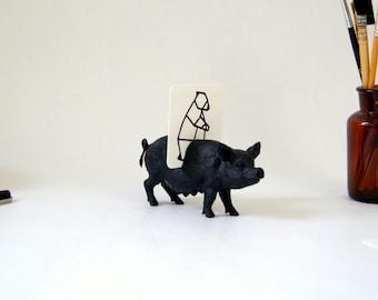 Cards holder Black Pig. Notes holder, photos holder. Desk organizer. Accessory and decoration for the desk. Black pig figurine.