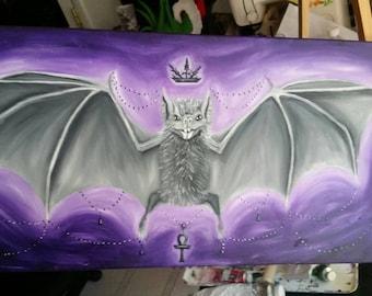 12x24 Fancy Vampire Bat Queen oil painting