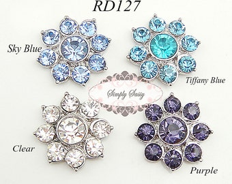 10 pcs RD127 Rhinestone Metal Flat Back Embellishment Buttons Wedding Bridal Invitations Favors Brooch Bouquets
