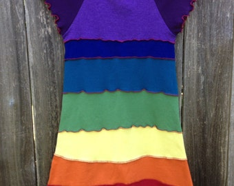 Girls rainbow dress, rainbow dress, upcycled girls dress, upcycled dress, size 7, size 8