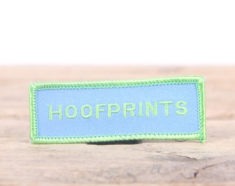 """Vintage Girl Scout Patch / 1970's-80's Scout Patch / Green Blue Hoofprints Patch / Old Stock Scout Patch / 3"""" Girl Scouts Patch /Scout Badge"""