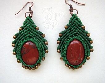 Mothers day earrings Malachite earrings Macrame green earrings Gypsy earrings Modern Boho earrings Birthstone earrings Elegant Boho Jewelry