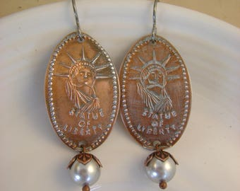 Pennies from Heaven - Vintage Statue of Liberty Souvenir Pressed Pennies Silver Pearls Niobium Recycled Repurposed Jewelry Earrings