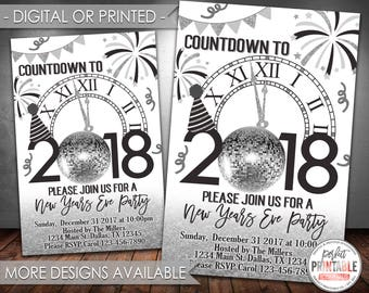 New Years Invitation, New Years Eve Party Invitation, New Years Invite, New Year Invitation, Black and Silver, Digital or Printed #729