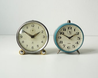 Set of 2 VINTAGE  ALARM CLOCKS - Big  Alarm Clock-Home decor-Vintage electronics - Alarm clock