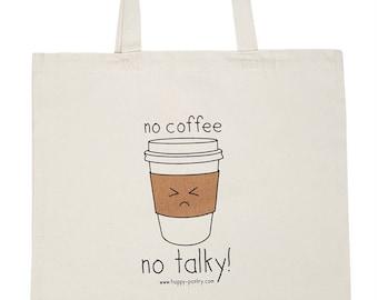 Coffee Tote Bag, Reusable Shopper Bag, Cotton Tote, Shopping Bag, Eco Tote Bag, Canvas Tote, Book Bag, Shopping Bag, Kawaii bag, Unique gift