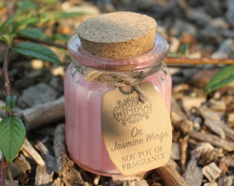 Soy Wax Candles JASMINFLÜGEL in glass with cork lid