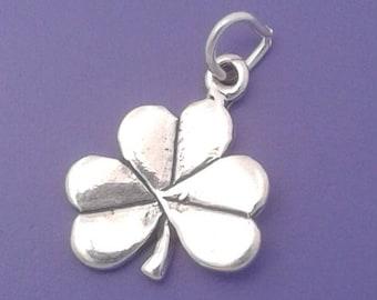 Shamrock or Clover Charm .925 Sterling Silver Irish Good LUCK Pendant - sc552