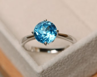Swiss blue topaz ring, solitaire ring, sterling silver, round cut