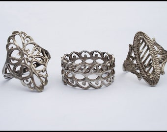 Lot of Three Vintage Sterling Filigree Rings 6.5 and 8