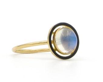 14 Karat Yellow Gold Art Nouveau Moonstone & Black Enamel Ring