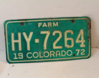Vintage 1972 Colorado Farm license plate HY-7264 green white