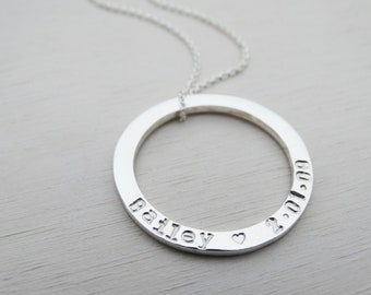 Personalised Silver Circle Necklace, Sterling Silver, Hand Stamped Names