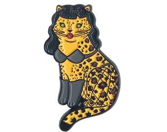 Bettie Page Cat Pin -  cat pin - Halloween enamel Pin - Halloween pin - Halloween cat pin lapel pin hat pin