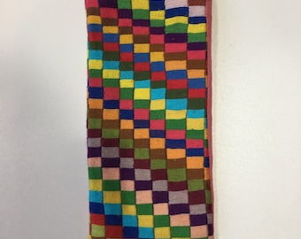 Handmade embroidered Glasses or iPhone case - geometric detail Malagasy Design