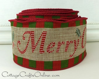 "Wired Ribbon, 2 1/2"" Merry Christmas Print Tan Heather, Red & Green Check Edge - TEN YARD Roll - ""Merry"" Wire Edged Ribbon"