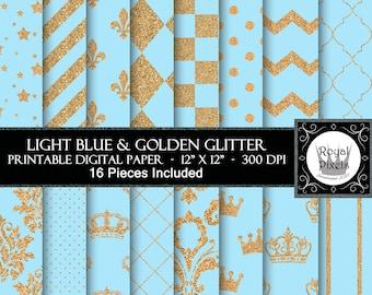 16 Royal Light Blue & Gold Glitter Digital Paper Backgrounds - Printable or Digital Scrapbook Paper - Royal Baby Shower - Royal Prince #6