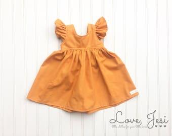 Baby Girl Dresses, Orange Girl Dress, Easter Dress, Baby Easter Dress, Baby Little Girls Dress, Girl Easter Dress, Toddler Girls Dresses