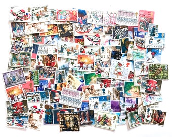 GB Used - 100 x Mixed British Christmas postage stamps - off paper - GB - for collage, stamp collecting, scrapbooking, crafts
