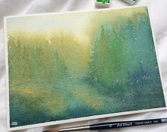 Green forest with golden shimmer, Original Watercolor Painting