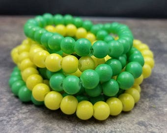60 Textured Yellow & Green Glass Beads 8mm round (H2544)