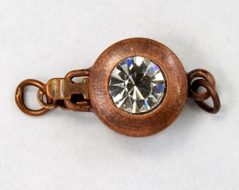 12mm Antique Copper Rhinestone Box Clasp #CLD148