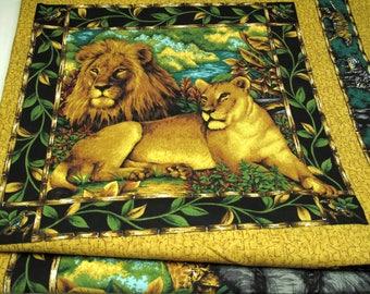 Vintage Safari Block Panel Fabric Elephant Lion Giraffe Home Decor Wild Animal Material