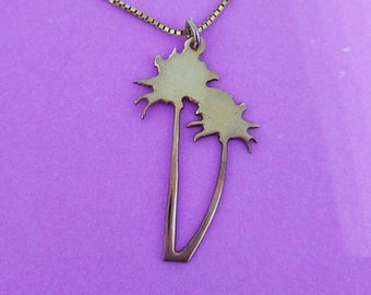 Palm Tree Necklace Gold Plated, 925 Silver coated with gold, Palmtree necklace