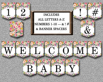 Floral Baby Shower Banner, Printable Includes ALL LETTERS A-Z, Numbers 0-9, Spacers & symbols Boho Baby shower banner Instant Download  020