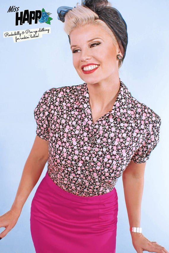 1950s Rockabilly & Pin Up Tops, Blouses, Shirts Connie Ditzy Pink Rose Retro BlouseConnie Ditzy Pink Rose Retro Blouse $40.00 AT vintagedancer.com