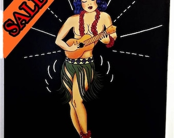 SALE FREE SHIPPING Tattoo Painting Sailor Jerry Hula Girl Tribute 24x18 inch Canvas Acrylic Painting By Donna Passarelli