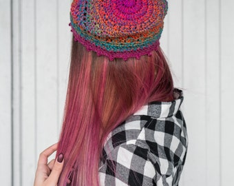 Handmade spring hat, Fitted Hat, gypsy hat, Bohemian crochet beanie, slouchy hat, festival beanie, hippie, Boho, women gift, girls hat