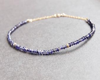 Iolite Anklet - gemstone anklet, gold anklet, gold filled anklet, ankle bracelet, gemstone ankle bracelet, beaded anklet