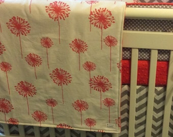 Coral and Gray MINI CRIB Bedding Made to Order