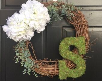 Moss Monogram Wreath with Hydrangeas