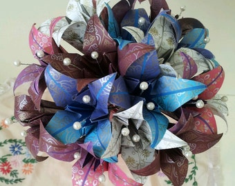 Paper Lily Origami Wedding Bridal / Paper Anniversary Bouquet With Pearls Aqua Ox Blood Plum Colours