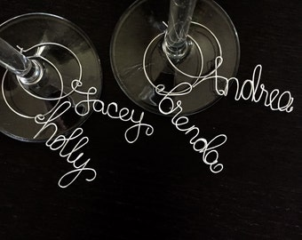 Personalized Wine Charms, bridal shower favors, party favors, wire wine charms, name wine charms