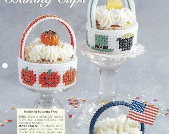 Holiday Baking Cups Plastic Canvas Pattern, Cupcake Muffin Holder, St. Patrick's Day, Halloween Decor, 4th Of July, The Needlecraft Shop