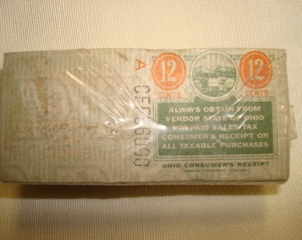 Ohio Sales Tax Stamps Over 200 Vintage Ohio 12 cent Vendors Sales Tax Stamp Full not used Vintage Paper Ephemera Shrunk wrap Craft Scrapbook