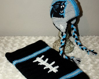 Baby FOOTBALL Cocoon, Newborn Panthers Football Swaddle, Carolina PANTHERS Baby Hat (Handmade by me and not affiliated with the NFL)