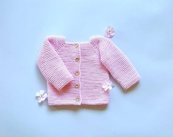Hand knitted baby jacket 100% merino organic wool white color knit baby sweater hand made soft wool newborn gift  baby gift  ready to ship