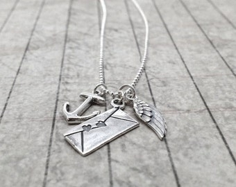 Long Charm Necklace, Sterling Silver Anchor Necklace, Angel Wing Necklace, Love Letter Necklace, Sterling Silver Jewelry,