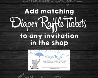 Matching Diaper Raffle Tickets, DIY printable, digital file, to match any invitation in the shop