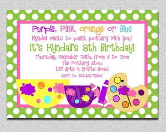 Arts and Crafts Birthday Party Invitation, Art Birthday Invitation,  Pottery Birthday Party Invitation, Painting Birthday Invitation, Invite